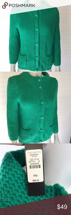 {talbots} green sweater Button up sweater is a bright kelly green color. Two pockets on front. Brand new with tags! Petite sizing. So warm, cozy, and stylish! Talbots Sweaters