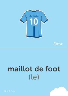 Maillot de foot #flience #sport #soccer #english #education #flashcard #language Spanish Flashcards, English, Team Shirts, Vocabulary, Language, Letters, Soccer, Website, Sports