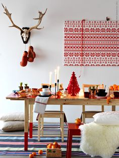 Scandinavian red and white Christmas decorations