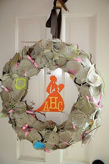 Burlap wreath and little bride in the middle