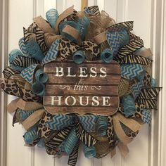 A personal favorite from my Etsy shop https://www.etsy.com/listing/498317076/turqouise-burlap-wreath-animal-print