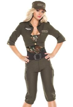 869055490e1 Masquerade Army Girl Includes knit cropped jacket and cargo pants.  Completed with a camouflage knit tank top