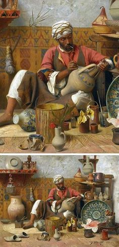 Jean Discart (French, 1856-1944). L'atelier de poterie, Tanger