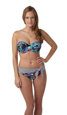 NEW Elle bandeau bikini and fold pant in floral print, D-H, http://www.panache-lingerie.com/en/products/details/panache-swim/elle/bandeau-bikini/floral-print #BANDEAU #BIKINI #panacheswim