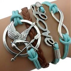 "Blue and Brown ""Love"" Arm Party Bracelet Hunger Games Arm Party Bracelet"