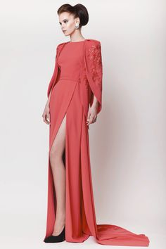 Azzi & Osta Couture SS 2015, Coral Long Silk Crepe Dress with Hand Sequined Details on the Cape