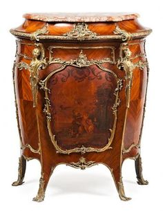 "French Napoleon III-style """"bombé"""" dresser in Brazilian rosewood with polychrome courtship scene and gilt bronze applications, early 20th Century 