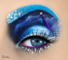 Makeup artist Tal Peleg designs detailed paintings on an unusual canvas: her upper eyelid. Using this part of her face—along with her eyebrows, lashes, waterline, and the surrounding area—Peleg recreates scenes from iconic movies, musicals, and books. For her depiction of Shel Silverstein's The Giving Tree, Peleg transformed her eyebrow into a tree that's blossoming with vibrant green leaves. As for Disney's Frozen, the artist succeeded in painting Elsa standing atop a snowy mountain…