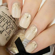 I dig the nude nail look with a subtle glittler hue #nail http://pinterest.com/ahaishopping/ #nails #nailart