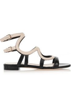 Sergio Rossi Two-tone leather sandals    NET-A-PORTER