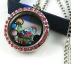 Silver Round Floating Locket w/ Pink Colored Gems $12.50 + shipping (Charms & Chain sold separately)