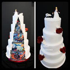wedding cake duo Star wars - cake by Cindy Sauvage Star Wars Torte, Star Wars Cake Toppers, Mr Mrs Cake Toppers, Funny Cake Toppers, Rustic Cake Toppers, Star Wars Wedding Cake, Wedding Topper, Funny Wedding Cakes, Wedding Humor
