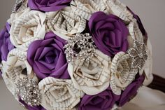 Plum Book Page Paper Rose Brooch Bouquet by withloveandpetals, $145.00
