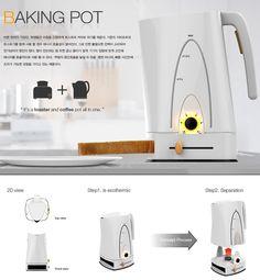 Café tostado. Baking Pot - Toast and Coffee Pot Combo by Won Kang , Hyo Kang & Min Kyu