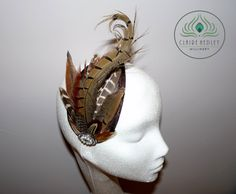 Pheasant feather brown sinamay teardrop cocktail hat