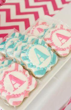 chevron monogram cookies