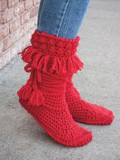 Keep feet warm while being in style with these adorable Mukluk booties. They are crocheted using 2 (3, 3, 3) skeins of King Cole Comfort Chunky #5 chunky-weight yarn. Size: Women's S 5-6 (M 8; L 9-10;                                                                                                                                                                                 More