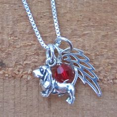 Basset Hound Mini Angel Wing Sterling Silver Necklace, Dog Park Publishing
