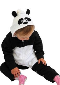 Cute Panda Baby Outfit - Hooded Animal Baby Onesie, Funky Black & White With Adorable Panda ears
