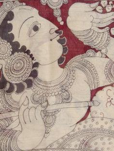 Black-Maroon Hand Painted Kalamkari Silk Cotton Maheshwari Dupatta with Zari Border by Jaypore