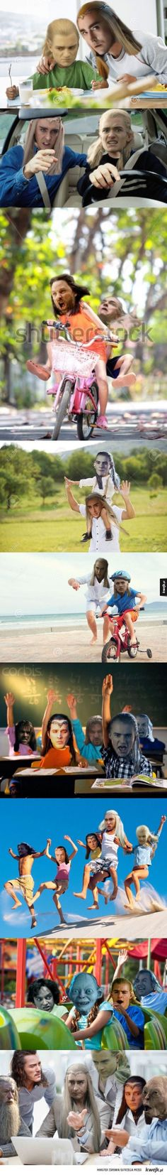 The best ones are Gollum on the ride and Legolas with the bike helmet on...
