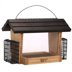 Nature's Way Bamboo 6 qt. Hopper with Suet accommodates birds both large and small. Its hinged roof allows for easy filling and the Fresh Seed tray makes cleaning a breeze. Bamboo is naturally insect Caged Bird Feeders, Suet Bird Feeder, Wild Bird Feeders, Humming Bird Feeders, Tractor Supplies, Stainless Steel Screws, Rust Free, Wild Birds, Bird Houses