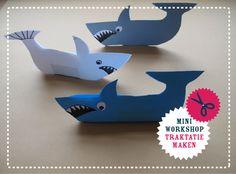 Stoere traktatie: enge haaien om zelf te maken van een stapeltje papier en…