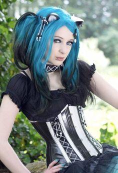 Blue to Black ombre dip-dye hair color
