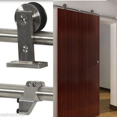 Top Mounted Modern-Stainless-Steel-Sliding-Barn-Door-Hardware-Track-Set Clayton Sth, VIC $299. Does it come in black?