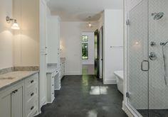 Dale Lane - Vintage South Development Master Bathroom Vanity, White Bathroom, Bathroom Ideas, Toilet, Bathtub, Flooring, Folklore, Closets, Bathrooms