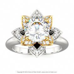 Diamond Lotus Engagement Ring #diamond #engagement #ring