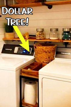 Small Laundry Room Ideas - Space Saving Ideas for Tiny Laundry Rooms (Creative a. Small Laundry Room Ideas – Space Saving Ideas for Tiny Laundry Rooms (Creative and Simple DIY) Laundry Storage, Small Laundry Rooms, Diy Kitchen Storage, Small Kitchen Storage, Cheap Storage, Small Space Kitchen, Laundry