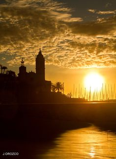 Sitges sunset.  Learn more about Sitges here: http://foreverbarcelona.wordpress.com/2012/04/28/seaside-town-of-sitges/