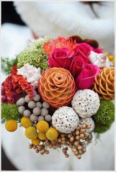 Cool color blocking of of similar shaped blooms & berries - California Weddings: http://www.pinterest.com/fresnoweddings/