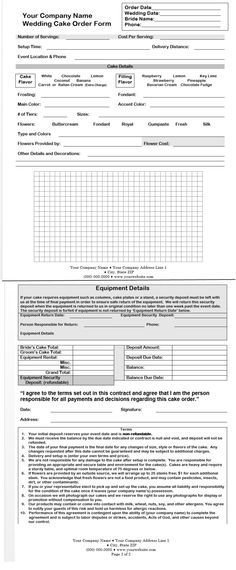 Cake Order Form Doc CakepinsCom  Decorating Tips And Pointers