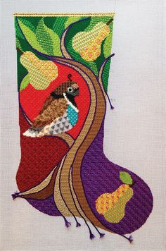 It's not your Grandmother's Needlepoint: partridge and pear tree stocking - can use many stitches! Needlepoint Designs, Needlepoint Stitches, Needlepoint Kits, Needlepoint Canvases, Needlework, Crewel Embroidery, Cross Stitch Embroidery, Embroidery Designs, Needlepoint Christmas Stockings