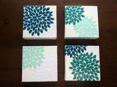 Flower Burst (Blue Oasis) 4 6 x 6 inch Canvas Set, Scrapbook Paper Petals sealed with Mod Podge on Etsy, $89.00