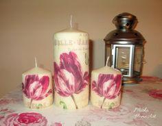 Sada troch sviečok zdobená dekupážou s motívom pohľadnice s tulipánom. Použité špeciálne lepidlo na sviečky, ktoré je nehorľavé a pri horení bez zápachu.  http://www.sashe.sk/HomeArt/detail/sada-sviecok-tupilan