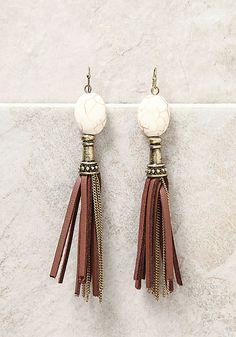 Gold Stone Chain Tassel Earrings