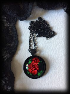 Red Rose Necklace, Gothic Victorian, Glass Cameo Pendant, Romantic Jewelry, Valentine Gift, Gothic Gift For Her, Handmade Jewellery by WhisperToTheMoon on Etsy