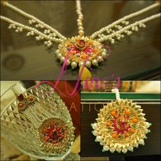 gotta jewelry - Ninos Creations I Love Jewelry, Ethnic Jewelry, Indian Jewelry, Jewelry Design, Jewelry Ideas, Bridal Accessories, Wedding Jewelry, Gota Patti Jewellery, Flower Jewellery For Haldi