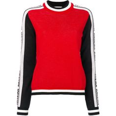 MSGM logo intarsia jumper ($297) ❤ liked on Polyvore featuring tops, sweaters, red, logo top, red sweater, red jumper, msgm and msgm sweater