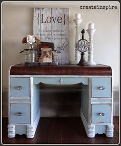 Antique Waterfall Desk in Quietude by Sherwin Williams. Top refinished in Java Gel Stain.