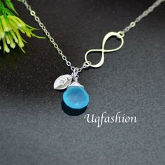 Personalized Infinity Necklace Initial Birthstone by Uqfashion, $37.00... Replace stone with my son's birthstone :)