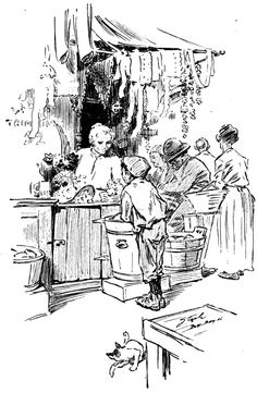 An illustration of a market stall that (according to the caption I removed) combined millinery, candy counter, and a barrel of sauerkraut. McClure's Magazine, August 1906