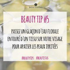 Passez un glaçon d'eau florale entouré d'un tissu sur votre visage pour apaiser les peaux irritées #beautytips #astuces #beauté #visage #beautistas