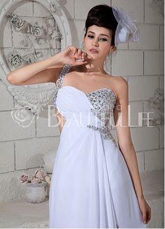 $265.49 Salome Sexy Chiffon Sheath/Column Sweep Train One-Shoulder Beading #Evening #Dress– Discount #Evening #Dresses