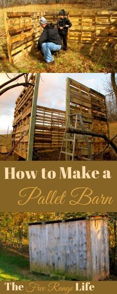 Wood Pallets Learn how we made a pallet barn for our goats. Make your own for your livestock or as a workshop or storage shed. - Learn how we made a pallet barn for our goats. Make your own for your livestock or as a workshop or storage shed. Building A Chicken Coop, Building A Shed, Building Homes, Building Plans, Building Design, Recycled Pallets, Wooden Pallets, Diy Pallet Projects, Pallet Ideas