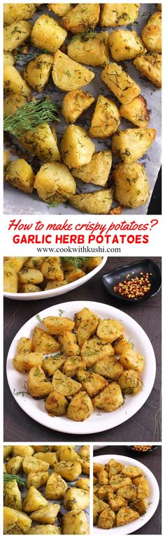 Garlic roasted potatoes are crisp on the outside, fluffy and creamy on the inside, super easy to prepare, making it a perfect side dish for any meal. This can also be served as finger food or appetizer for your next cocktail, mocktail, game night, Super Bowl, or football party.