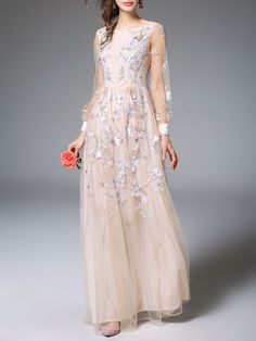 Beige Casual Embroidered A-line Mesh Maxi Dress